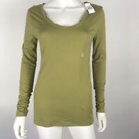 Ann Taylor Loft Womens Small Green Basic Long Sleeve Tee T Shirt Scoop Neck New