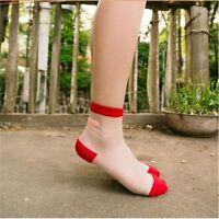 Women Transparent Silk Band Aid Short Summer  Art Lace Socks