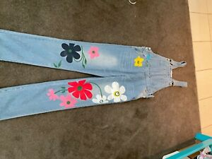 Miss Look Denim Overalls size M bib & brace. Flowers