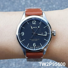 TIMEX TW2P95600 Waterbury Brown Leather Men's Watch 40mm Quartz  Indiglo