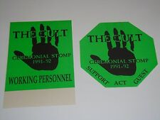 The Cult 2 Backstage Unused Ticket Passes pass Ceremonial Stomp Green Color Usa