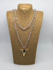 Fashion woman jewelry knotted glass crystal beads Necklace w steer pendant Gift