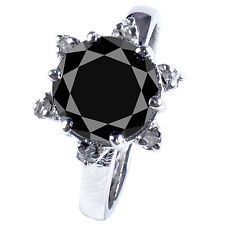 2.68+ ct Black Missanite & Nautral Rough Diamond .925 Silver Ring see video