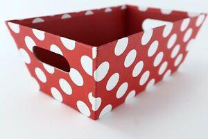 Red w/ White Polka Dot Square Gift Craft Art Basket Bin Similar to Minnie Mouse