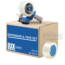 Tape Amp Dispenser Combo 36 Rolls Clear 2x110yds Packing Tape With 2 Dispenser