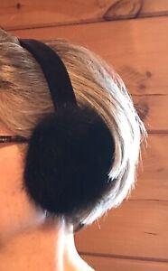 Genuine Black  Full Skin Canadian Mink Fur Earmuffs