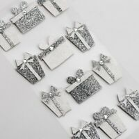 Glitter Present Silver White Christmas Embellishment - 12Pcs Self Adhesive XM021