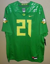 NWT MENS XXL NIKE OREGON DUCKS APPLE GREEN PUDDLES FOOTBALL JERSEY #21 SEWN $150