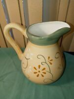 """Brushes Hand Painted K.I.C. Pitcher  7.5"""" Tall Stonemite Yellow w/ Green Floral"""