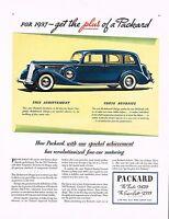 1936 BIG Original Vintage Blue Packard 1937 Sedan Car Automobile Art Print Ad a