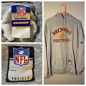 Vintage Reebok NFL Cleveland Browns hoodied Gray Large Faded Worn team apparel