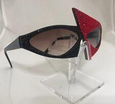 Futuristic Red Black Crystallized Triangle Comic Sunglasses by Kaleidoscope