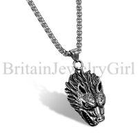 "24"" Viking Stainless Steel Wolf Head Werewolf Punk Pendant Necklace for Men Boys"