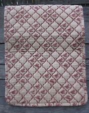 Primitive Quilted Chicken Rooster Table Runner, Red Print on Tan, Padded