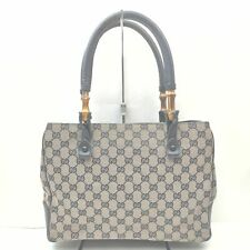 Gucci Hand Bag Bamboo  Navy Blue Canvas 706659
