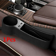 2 USB Leather Cup Holder Storage Case Organizer Box Black Fit For Car Seat Gap
