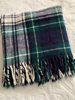 Vtg Blanket Wool Blend Tartan Plaid Blue Green Yellow Troy Mills USA SOFT! 52X48