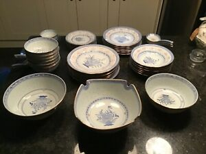 CHINESE STYLE DINNER SET - BLUE ON WHITE - USED MINT CONDITION