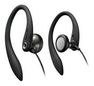 Wired Earbuds For Phone Over ear Hook Earphones Philips Headphone Headset-Black