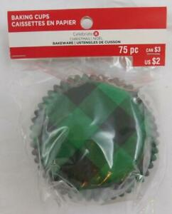 Celebrate It Baking Cups Cupcake Liners New Green Black Plaid 75 Pc