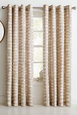 "Modern  ""Paint Splat"" Eyelet Curtains 66x72"";168x183cm 100% Cotton Natural Mocha"