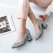 Womens Elegant Block High Heels  Pointed Toe Pumps Slip On Party Dress Shoes BN