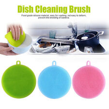 3Pcs Silicone Dish Washing Sponge Scrubber Kitchen Cleaning antibacterial Tool