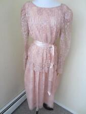 Vintage 1980's Blush Pink Lace Party Dress  NWT Wedding Long Sleeves Size S M