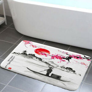 Sunset and Plum Blossoms Shower Curtain Toilet Cover Rug Mat Contour Rug Set