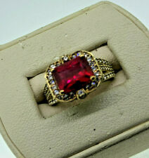 Vintage Sterling Silver Gold Wash Ruby ring with Cubic Zirconia accents, Size 5