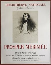 Affiche Exposition PROSPER MERIMEE Bibliothèque Nationale MOURLOT 1953