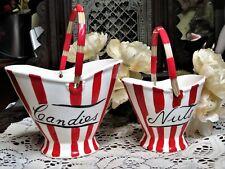 Vintage Davar Original Candies and Nuts Ceramic Baskets, Japan, Red Striped 1950