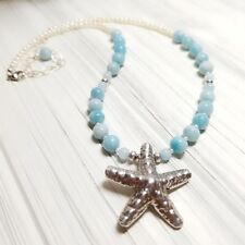 AQUAMARINE, AMAZONITE, PEARL AND HILL TRIBE STARFISH STERLING SILVER NECKLACE