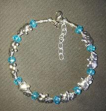 Ladies Bangle Tibetan Silver Elephant Light Blue Crystal Bead Bracelet Jewelry