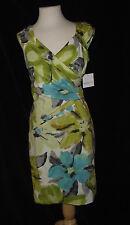 NWT Liz Claiborne  8P Stretch Cotton Straight Chartreuse Green Aqua Blue Dress
