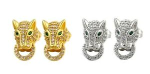 Men's Pair of Rhinestone Gold or Silver Tone Leopard Stud Earrings, Jeweled Eyes