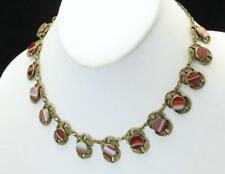 Vintage Egyptian Revival Necklace Round Banded Agate In Brass Scarab Setting