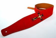 CLEARWATER GUITAR STRAP ELECTRIC ACOUSTIC BASS RED SUEDE WITH CELTIC CROSS