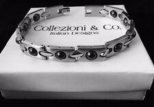 """Mens Stainless Steel Silver Magnetic Bead Italian Designer 8.5"""" Health Bracelet"""