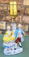 Vintage Victorian Couple Lamp Porcelain Boudoir Lamp Made In Japan Works