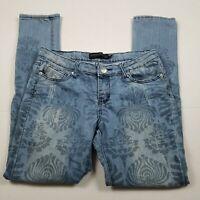 Rue 21 TwentyOneBlack Skinny Jeans Womens Sz 9/10 Print Blue Mid-Rise Stretch