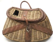 Vintage Wicker and Leather Fishing Creel - Made in British Hong Kong