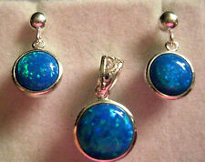 Sterling Silver Celtic Blue Green Gilson Opal Circle Pendant & drop earrings Set
