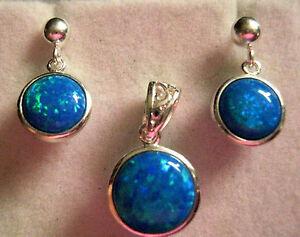 Celtic Blue Green Fire Opal Round Pendant & Earrings Set Sterling Silver Trellis