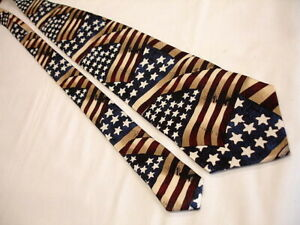 Vintage mens tie american flag masonic temple masons patriotic Silk Buffalo Bay
