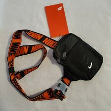 Nike Essentials Running Bag Fanny Pack Crossbody Black White Orange BA5904-010