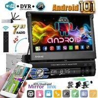 "Single 1 Din 7"" Android 10.1  Flip Out Car Stereo Radio GPS Navi Wifi +Camera"