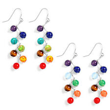 New 6mm Round Beads Natural Stone Rainbow 7 Chakra Drop Earrings Healing Stone