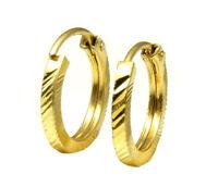 Real 14k yellow gold Hoop Earrings simple hi polish cut hollow pipe loop Pair