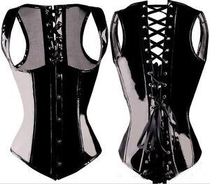 Sexy Burlesque Costume Corset Basque Cincher Lingerie Bustier Faux Leather PVC